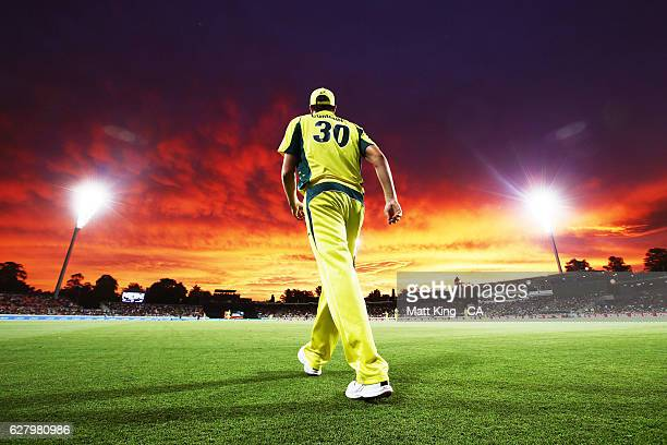Pat Cummins of Australia fields on the boundary during game two of the One Day International series between Australia and New Zealand at Manuka Oval...