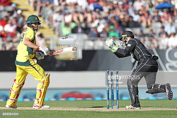 Pat Cummins of Australia is stumped by Tom Latham of New Zealand during the first One Day International game between New Zealand and Australia at...