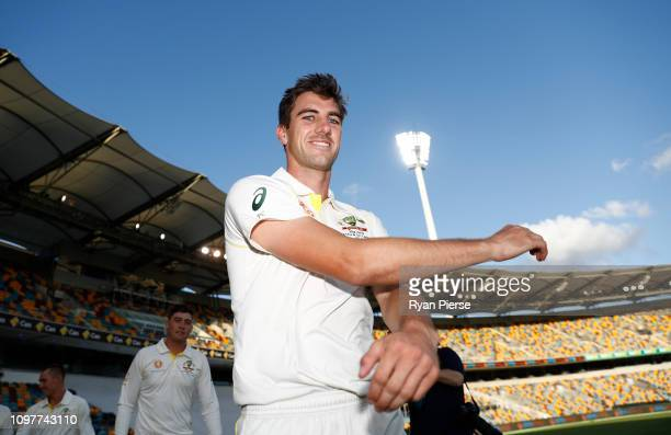 Pat Cummins of Australia looks on during an Australian Nets Session ahead of the Australia v Sri Lanka Test Series at The Gabba on January 22, 2019...