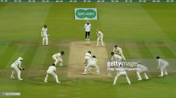 Pat Cummins of Australia plays the final ball of the match bowled by Jack Leach of England during the fifth day of the second Specsavers test match...