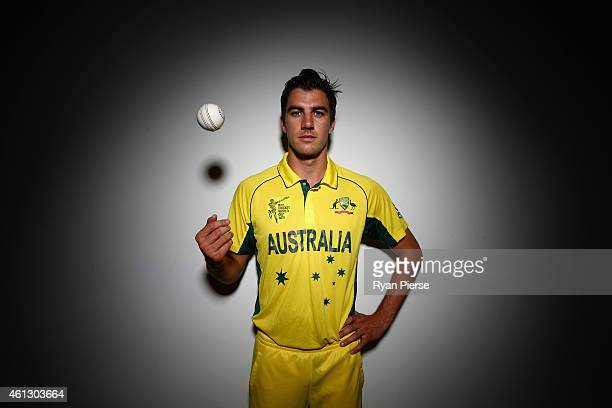 Pat Cummins of Australia poses during the Australian 2015 Cricket World Cup squad announcement at Museum of Contemporary Art on January 11 2015 in...