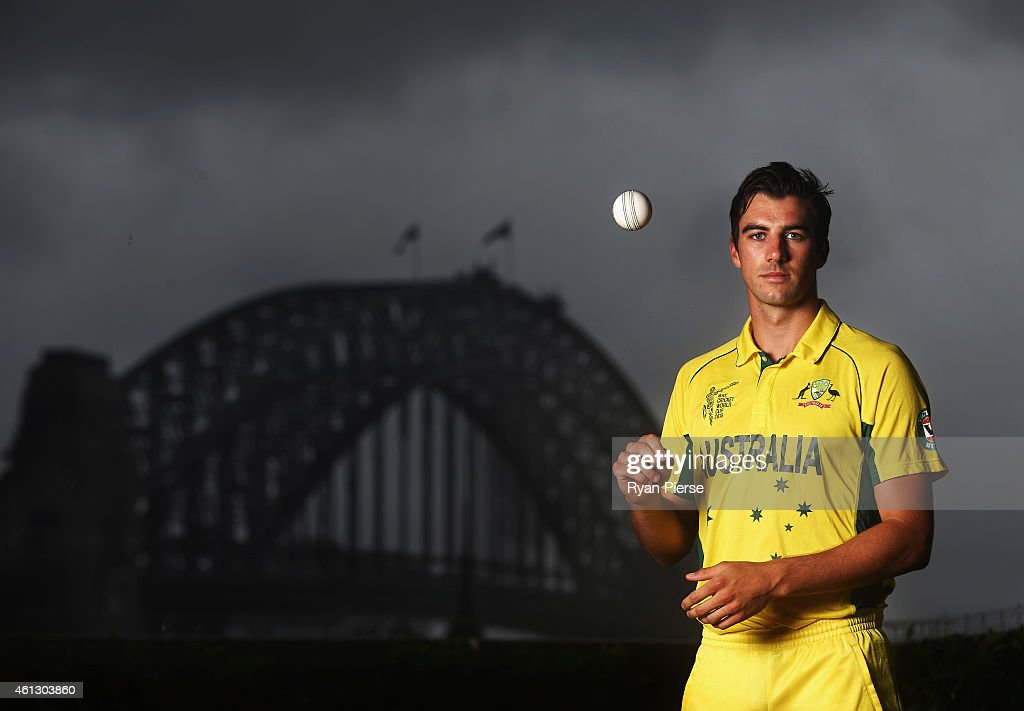 Pat Cummins of Australia poses during the Australian 2015 Cricket World Cup squad announcement at Museum of Contemporary Art on January 11, 2015 in Sydney, Australia.