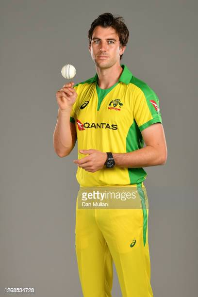 Pat Cummins of Australia poses for a portrait during the Australia Cricket Portrait Session at The County Ground on August 25, 2020 in Derby, England.