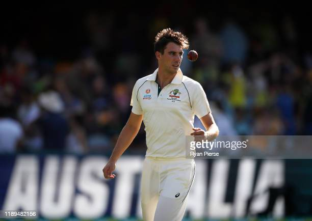 Pat Cummins of Australia prepares to bowl during day three of the 1st Domain Test between Australia and Pakistan at The Gabba on November 23, 2019 in...