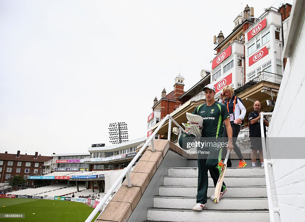 Pat Cummins of Australia prepares to train during a nets session ahead of the 5th Investec Ashes Test match between England and Australia at The Kia Oval on August 18, 2015 in London, United Kingdom.