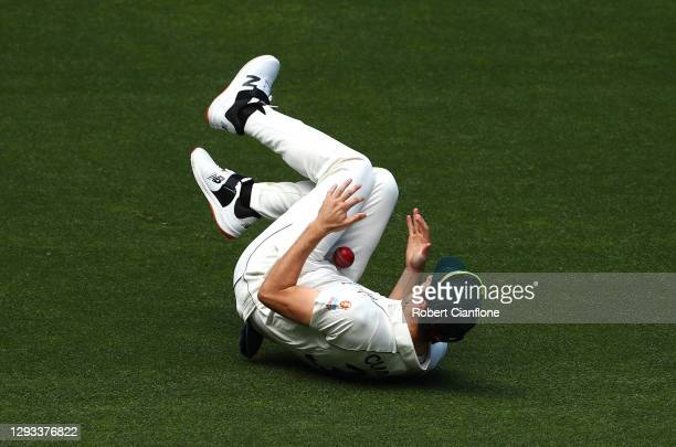 Pat Cummins of Australia takes a catch to dismiss Ravindra Jadeja of India during day three of the Second Test match between Australia and India at...