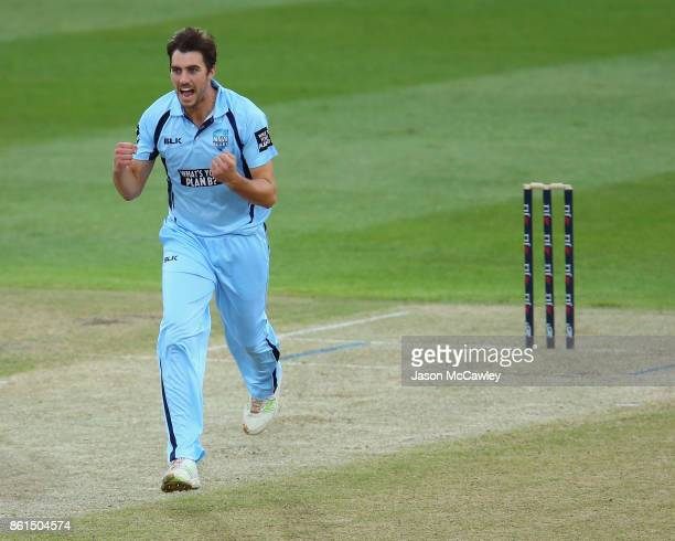 Pat Cummins of NSW appeals during the JLT One Day Cup match between New South Wales and Victoria at North Sydney Oval on October 15 2017 in Sydney...