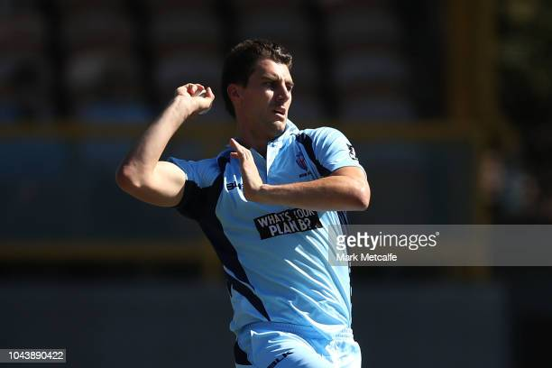 Pat Cummins of the Blues bowls during the JLT One Day Cup match between New South Wales and Queensland at Drummoyne Oval on October 1 2018 in Sydney...