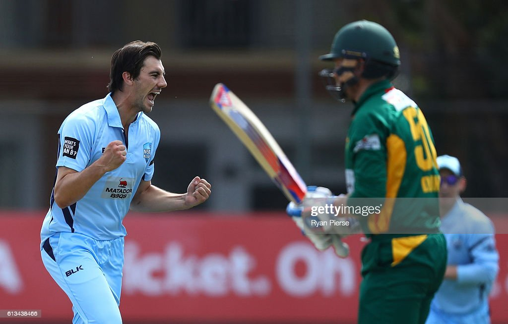Pat Cummins of the Blues celebrates after taking the wicket of Ben Dunk of the Tigers during the Matador BBQs One Day Cup match between New South Wales and Tasmania at Hurstville Oval on October 9, 2016 in Sydney, Australia.
