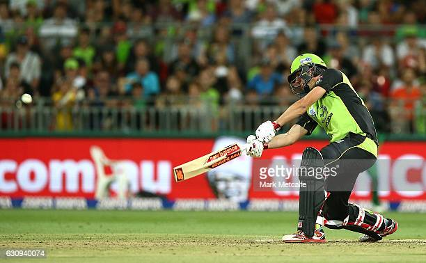 Pat Cummins of the Thunder bats during the Big Bash League match between the Sydney Thunder and Melbourne Stars at Spotless Stadium on January 4 2017...