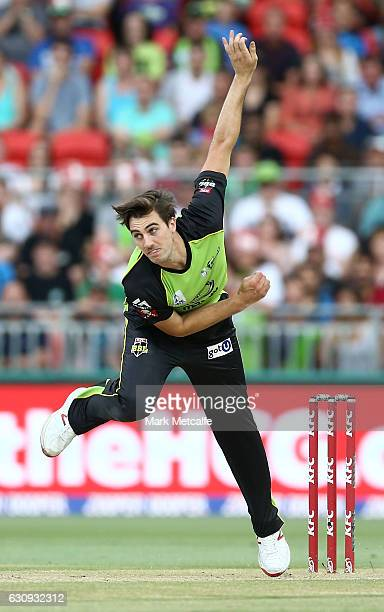Pat Cummins of the Thunder bowls during the Big Bash League match between the Sydney Thunder and Melbourne Stars at Spotless Stadium on January 4...