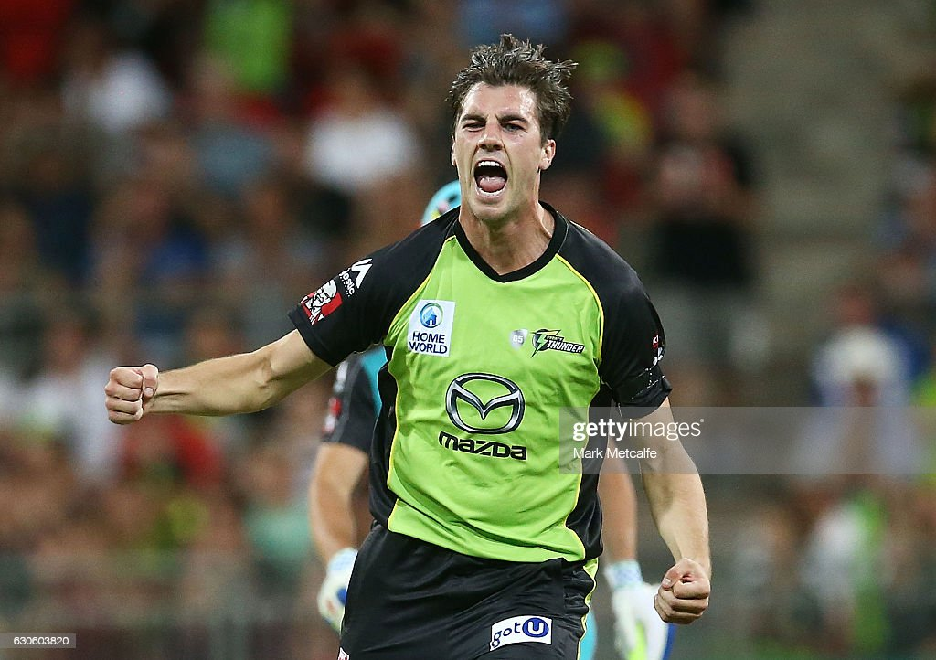 Pat Cummins of the Thunder celebrates after taking the wicket of Brendon McCullum of the Heat during the Big Bash League match between the Sydney Thunder and Brisbane Heat at Spotless Stadium on December 28, 2016 in Sydney, Australia.