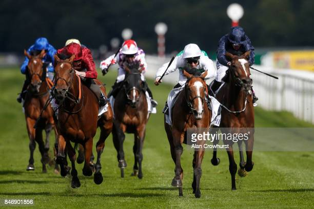 Pat Dobbs riding Alyssa win The DFS Park Hill Stakes at Doncaster racecourse on September 14, 2017 in Doncaster, United Kingdom.