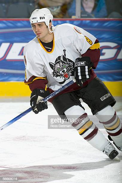 Pat Dwyer of the Chicago Wolves skates against the Peoria Rivermen at Allstate Arena on December 11 2005 in Rosemont Illinois The Wolves won 41