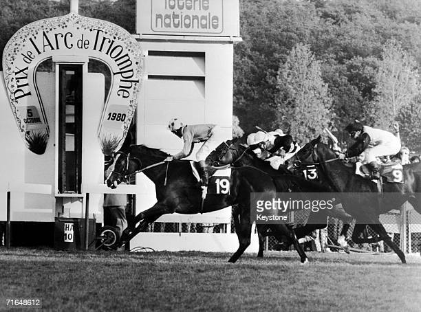 Pat Eddery rides Detroit past the post at Longchamp to win the Prix de l'Arc de Triomphe in Paris 5th October 1980 Argument came second and Three...