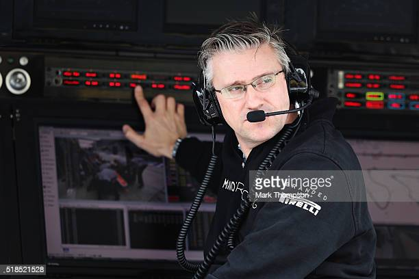 Pat Fry Technical Consultant Manor Racing on the pit wall during practice for the Bahrain Formula One Grand Prix at Bahrain International Circuit on...