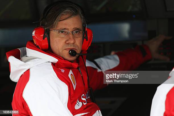 Pat Fry the Ferrari technical director for the chassis division is seen during the weather delayed qualifying session for the Australian Formula One...
