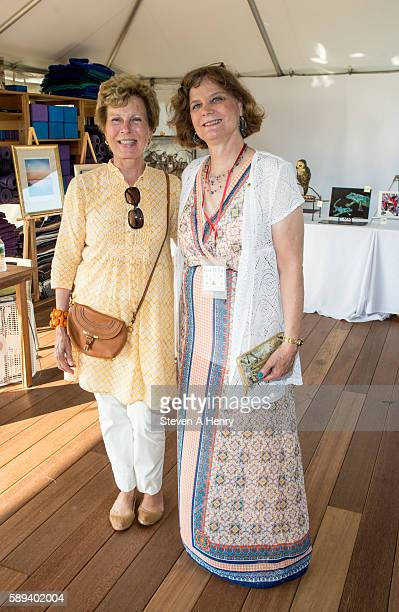 Pat Garrity and Ginnie Frati attend the 10th Annual Get Wild Summer Benefit on August 13 2016 in Bridgehampton New York