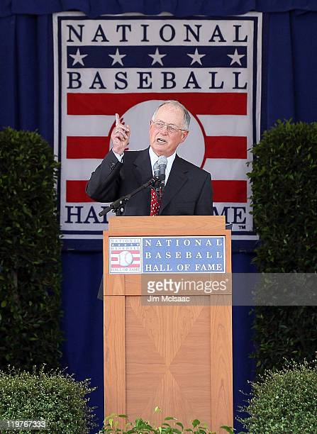 Pat Gillick gives his speech at Clark Sports Center during the Baseball Hall of Fame induction ceremony on July 24 2011 in Cooperstown New...