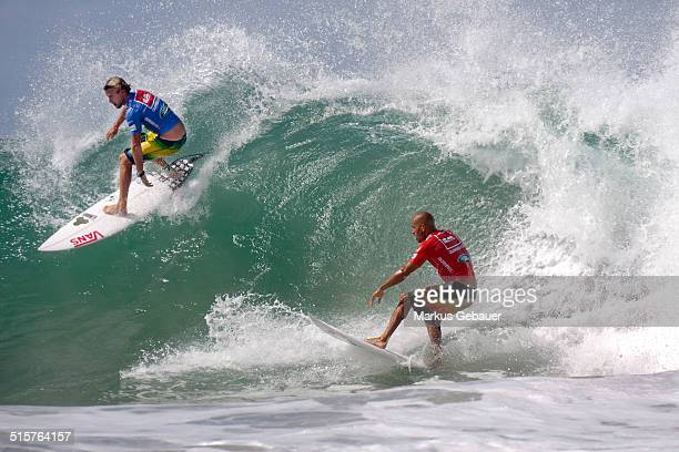 Pat Gudauskas and Kelly Slater during Expression Session at Quicksilver Pro Surf Cup.