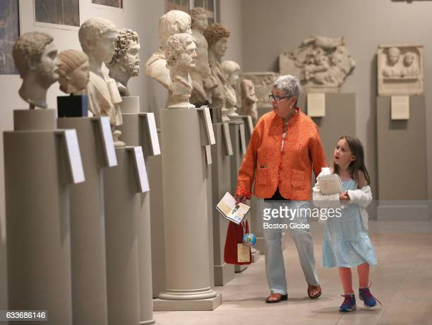 Pat Higgins of Lexington MA with her granddaughter Alison BakerHiggins of Brunswick ME stroll through the Classical Roman Gallery at the Museum of...