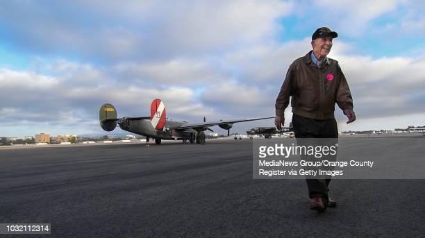 Pat Hofferbert smiles after a ride in a B24 Liberator at John Wayne Airport in Santa Ana California on Friday May 12 2017 Hofferbert was in the Air...