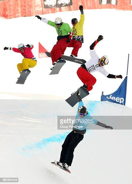 Pat Holland JJ Tomlinson Nick Baumgartner Ross Powers and Kevin Hill battle during their quarterfinal heat of the Men's Snowboarder X at Winter X...