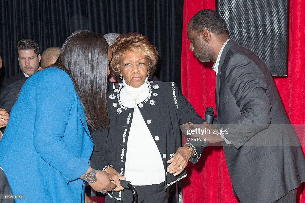 Pat Houston, Cissy Houston, and Gary Houston attend Madame Tussauds Whitney Houston Wax Unveiling at Madame Tussauds on February 7, 2013 in New York City.