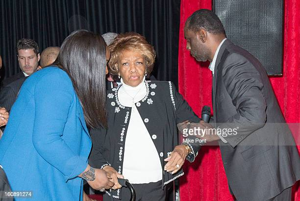 Pat Houston Cissy Houston and Gary Houston attend Madame Tussauds Whitney Houston Wax Unveiling at Madame Tussauds on February 7 2013 in New York City