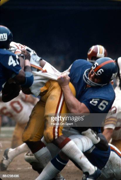 Pat Hughes of the New York Giants in action against the Washington Redskins during an NFL football game October 22 1979 at Yankee Stadium in Bronx...