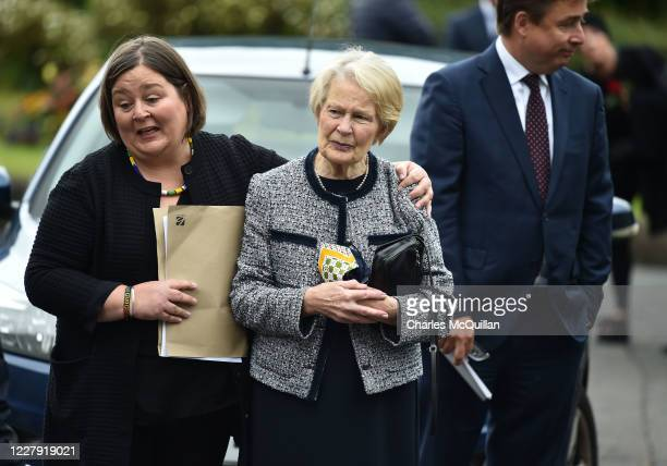 Pat Hume arrives with family members as the funeral takes place of her husband and former SDLP leader and Nobel Peace Prize winner John Hume at St...