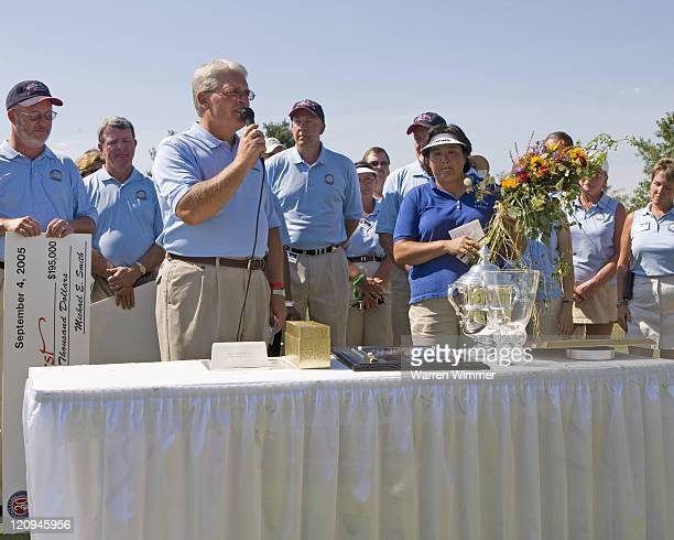 Pat Hurst poses with her winnings trophies and plaque after winning the State Farm Classic 2005 played at the Rail Golf Club Sherman Illinois...