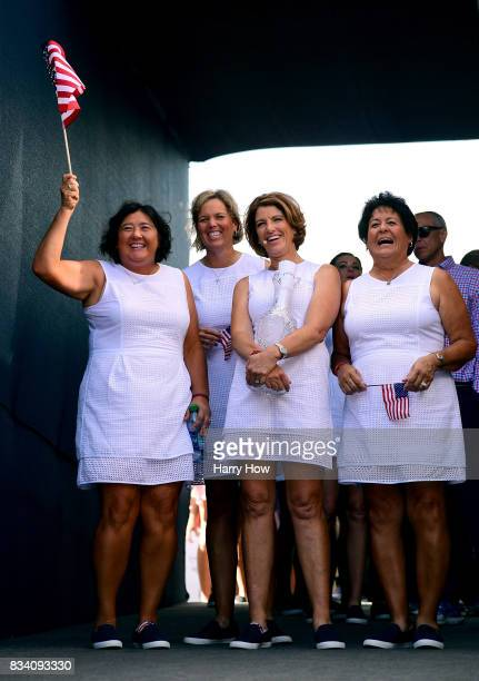 Pat Hurst Wendy Ward Juli Inkster and Nancy Lopez of Team USA smile in the tunnel before they are introduced to the crowd during opening ceremony for...