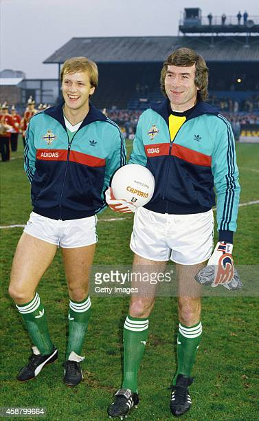 Pat Jennings and Colin Clarke raise a smile before an International match between Northern Ireland and Morocco at Windsor Park on April 23, 1986 in...