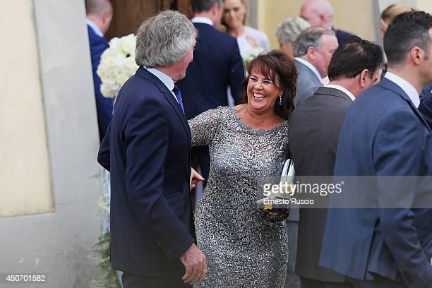 Pat Jennings and his wife attend the wedding of his son Pat Jennings Jr and Sarah Morrisey at Santa Maria in Selva on June 15 2014 in Montecatini...