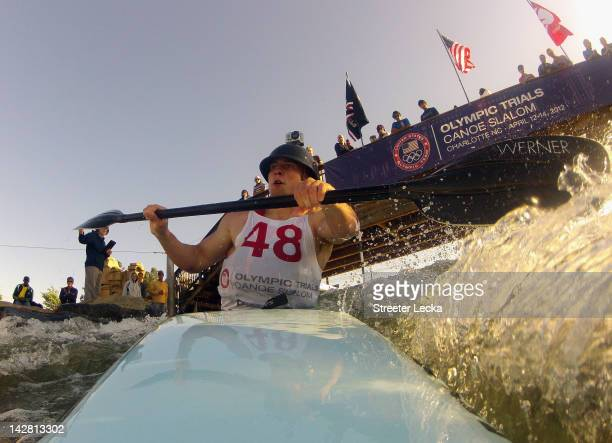 Pat Keller competes in the Men's K1 of the 2012 US Olympic Trials for Whitewater Slalom at the US National Whitewater Center on April 12 2012 in...