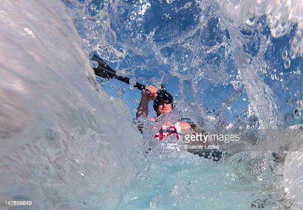 Pat Keller competes in the Men's K1 of the 2012 US Olympic Trials for Whitewater Slalom at the US National Whitewater Center on April 13 2012 in...