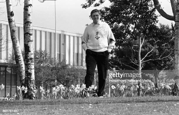 Pat Kenny relaxes in the sunshine at the RTE studios in Donnybrook, March 31, 1990. .