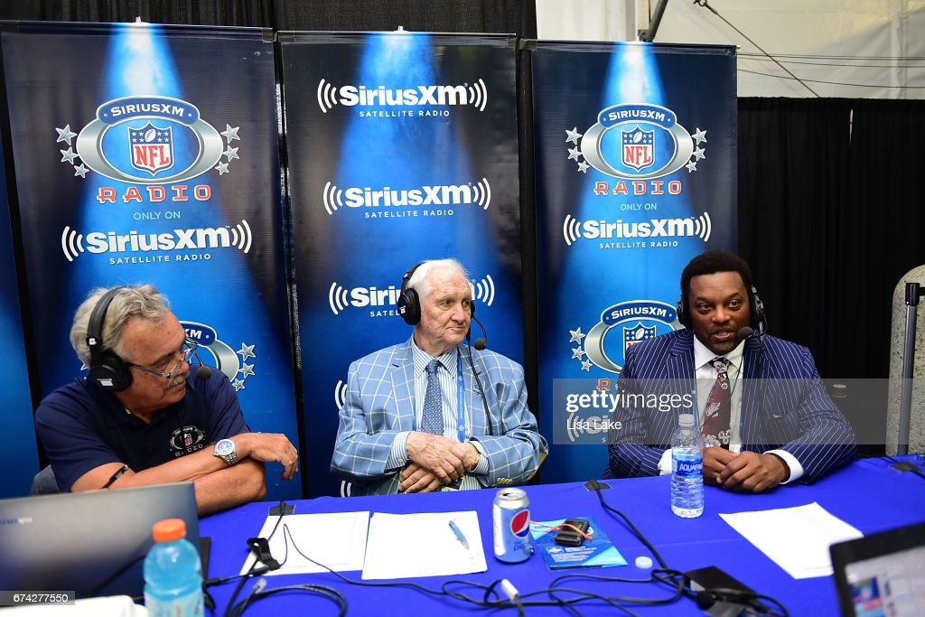 Pat Kirwan (L) and Gil Brandt (C) hosts of the SiriusXM NFL Radio talk with Head Coach of Texas A&M University, Kevin Sumlin during the first round of the 2017 NFL Draft at Philadelphia Museum of Art on April 27, 2017 in Philadelphia, Pennsylvania.