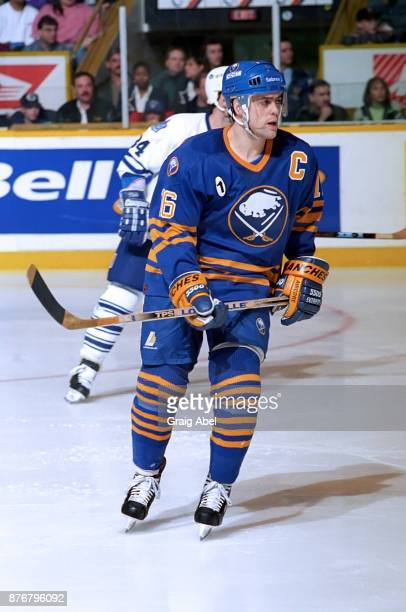 Pat LaFontaine of the Buffalo Sabres skates against the Toronto Maple Leafs during NHL game action on February 10 1996 at Maple Leaf Gardens in...