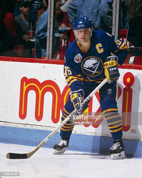 Pat Lafontaine of the Buffalo Sabres waits for a pass during a game against the Montreal Canadiens Circa 1990 at the Montreal Forum in Montreal...