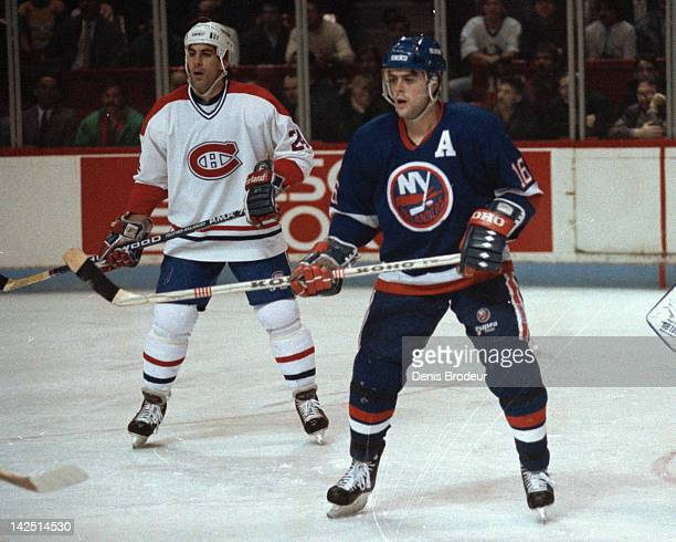 Pat Lafontaine of the New York Islanders skates against the Montreal Canadiens Circa 1980 at the Montreal Forum in Montreal Quebec Canada
