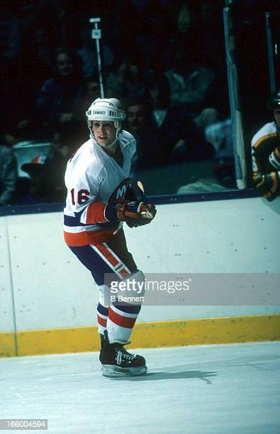 Pat Lafontaine of the New York Islanders skates on the ice during an NHL game against the Minnesota North Stars on March 24 1984 at the Nassau...
