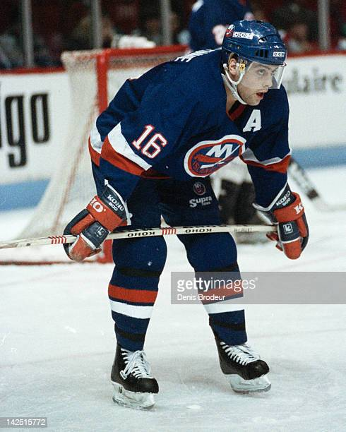 Pat Lafontaine of the New York Islanders stands at the faceoff circle Circa 1980 at the Montreal Forum in Montreal Quebec Canada