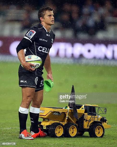 Pat Lambie of the Cell C Sharks during the Super Rugby match between Cell C Sharks and Emirates Lions at Growthpoint Kings Park on February 21 2015...