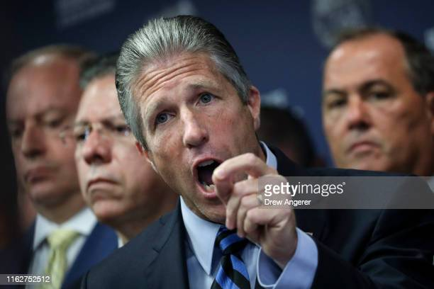 Pat Lynch president of the NYC Police Benevolent Association speaks during a press conference after the announcement of the termination of officer...