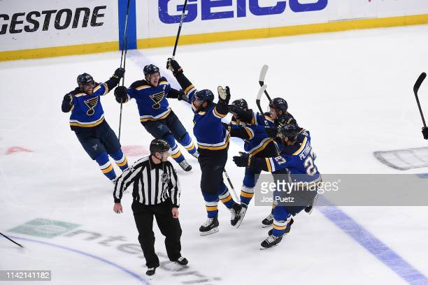 Pat Maroon of the St Louis Blues and the St Louis Blues react after beating the Dallas Stars in double overtime in Game Seven of the Western...