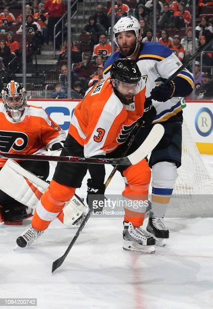 Pat Maroon of the St Louis Blues battles against Radko Gudas of the Philadelphia Flyers on January 7 2019 at the Wells Fargo Center in Philadelphia...