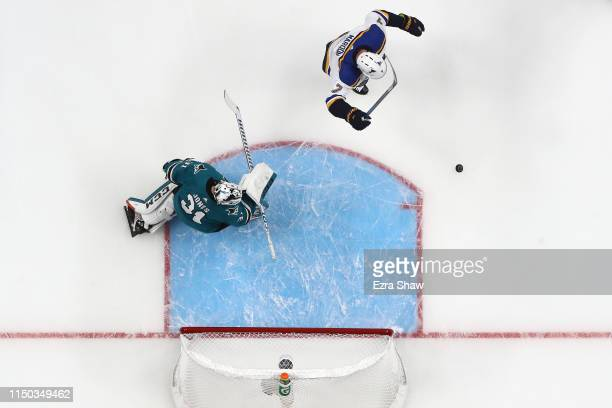 Pat Maroon of the St Louis Blues celebrates after a goal by Oskar Sundqvist against Martin Jones of the San Jose Sharks in the first period of Game...