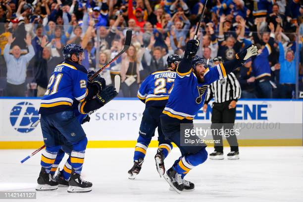 Pat Maroon of the St Louis Blues celebrates after scoring the gamewinning goal in double overtime in Game Seven of the Western Conference Second...